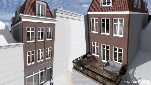 Impressies verkoopbrochure nieuwbouw appartementen met winkel Kleine houtstraat 26-38 Haarlem