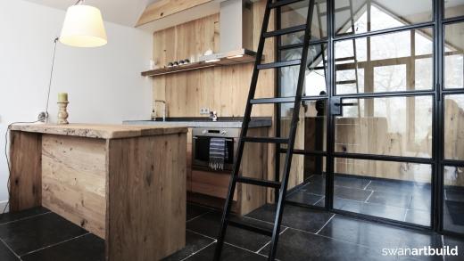 Keuken - Bar interieur ontwerp oud eiken