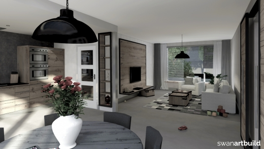 Interieur woonhuis meubels keuken oud eiken