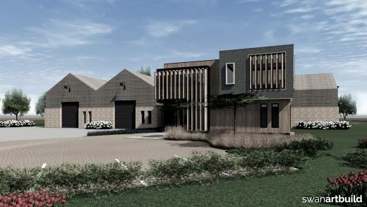Ontwerp nieuwbouw kantoorpand met bedrijfshal industrieel uiterlijk Warmenhuizen