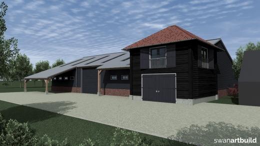 Nieuwbouw opslagloods met kantoor in landelijke omgeving en stijl