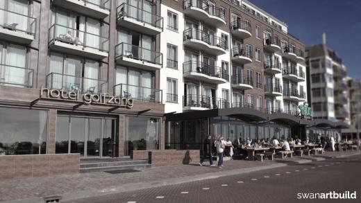 Nieuwbouw Strandhotel Golfzang Egmond aan Zee neoclassicistische bouwstijl
