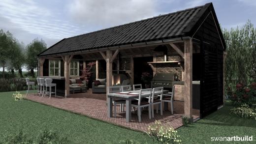 Vergunningsvrij bijgebouw in landelijke sfeer veranda Hoogwoud