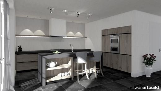 Ontwerp eikenhouten keuken t.b.v. nieuwbouw woonhuis Tuitjenhorn